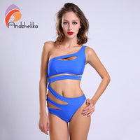 2018 Sexy One Piece Swimsuit Bandage For Women Solid White and Blue One shoulder Cut Out Monokini Swimwear Bathing Suit bodysuit