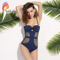 Andzhelika 2018 Newest One Piece Swimsuit Women Sexy Mesh Swimwear Hollow Out Bodysuit Bathing Suit Monokini Beach Swimming Suit