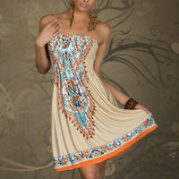 WJ Sexy Women Floral Bandeau Beach Boho Maxi Sundress Mini Dress Casual
