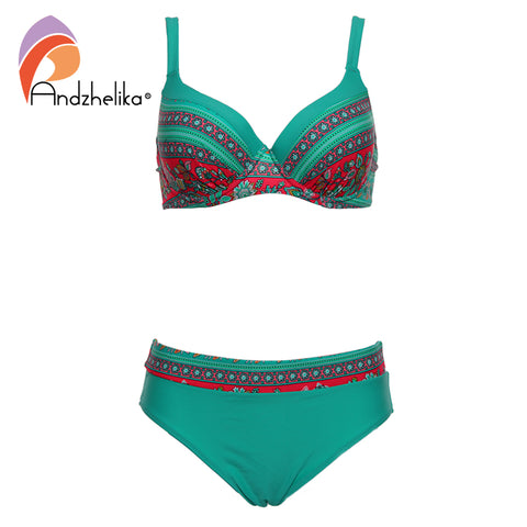 Andzhelika Swimsuit Women Bikini 2018 New Sexy Vintage Print Large Cup Bar small Bottom Bathing Suit Plus Size Swimwear AK2025