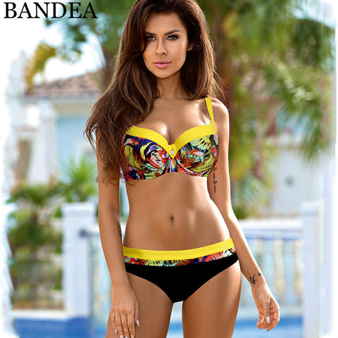BANDEA 2018 Sexy Push Up Swimsuit Women Swimwear Plus Size Bikini Set Female Patchwork Bathing Suit Brazilian Biquini Beach Wear