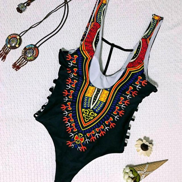 d7f0322892 Women One Piece Swimsuit Dashiki African Printing Push-Up Padded Bra Beach  Swimwear Bodysuit trikini