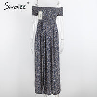 Simplee Apparel sexy side split off shoulder print summer dress High waist pleated maxi dress women Vintage beach dress vestidos