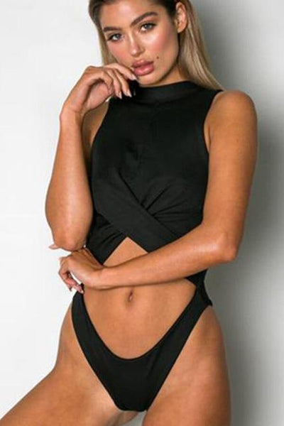 404c69eb285b8 Floralkini Wrap Cut Out Front High Neck One Piece Monokini High Cut Swimsuit  Sexy Women Push