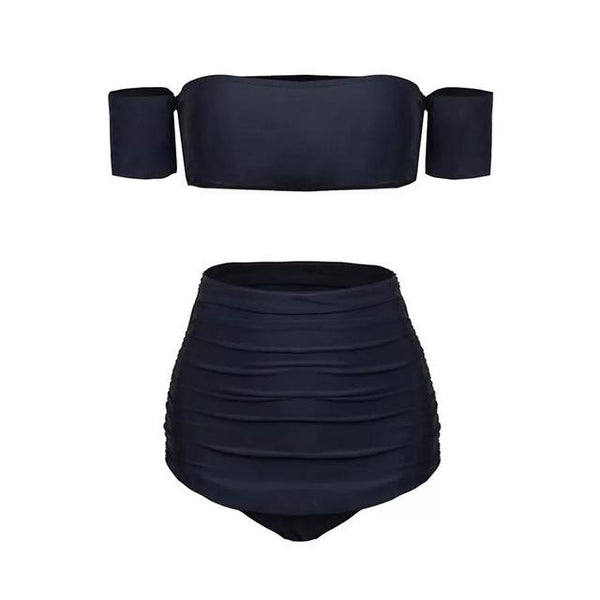 2018 New Arrival Strapless Bandeau Sexy Bikini Set Women Swimwear Off Shoulder Swimsuit High Waist Black Backless Bathing Suits