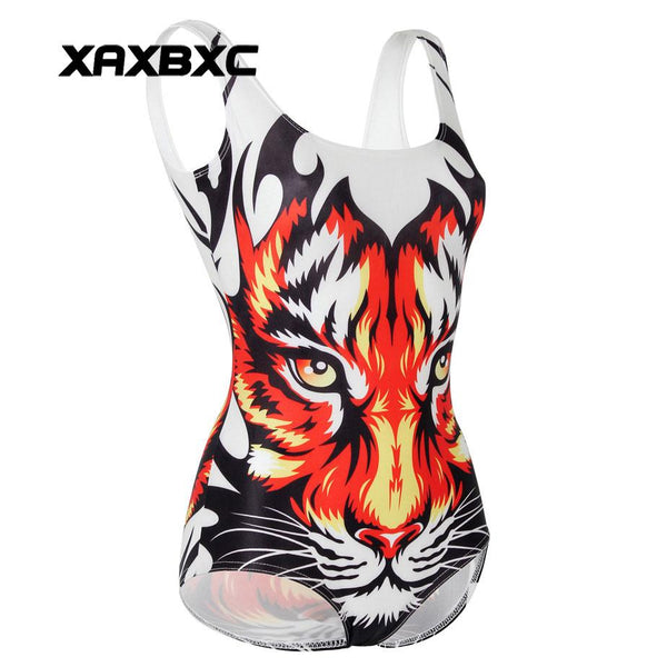 XAXBXC 1219 Summer Sexy Girl Swimwear Bodysuit Animal Red Tiger 3D Prints One Piece Women Swimsuit Sport Bathing Suit
