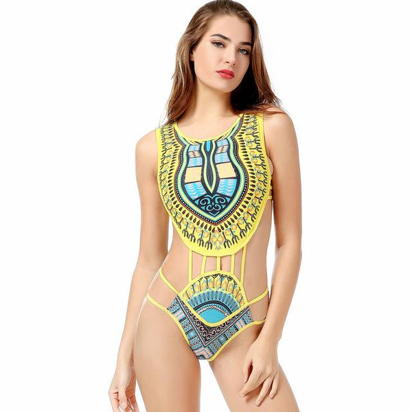 07af683111917 ... African Print Swimsuits Sexy Swimwear Women One Piece 2018 Swimsuit  High Neck Bandage Monokini Plus size