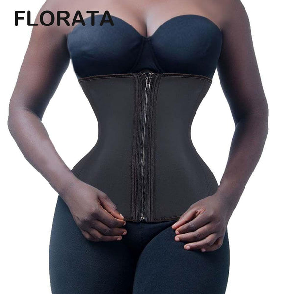FLORATA Zipper And Hooks Rubber Latex Waist Trainer Sexy Waist Training Corsets Underbust Waist Cincher Zip And Clip Shaper