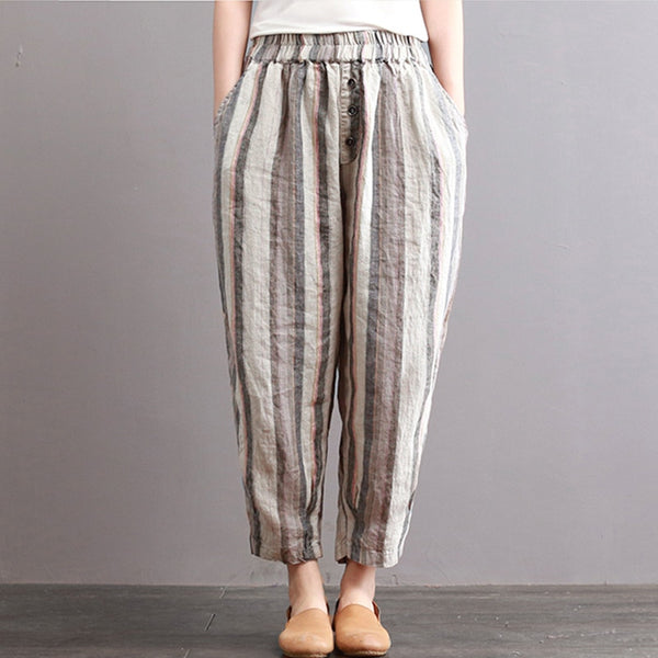 ZANZEA 2018 Women Elastic Waist Striped Casual Cotton Linen Retro Long Harem Pants Loose Pockets Pantalon Trousers Plus Size
