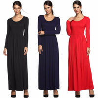 Meaneor Women Long Sleeve Maxi vestidos autumn winter Casual O-Neck Soild A-Line Ankle Length Elegant Evening Conservatism Dress