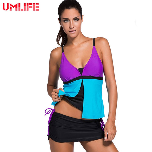 UMLIFE Two Piece Set Plus Size Women Swimwear Tankini Swimsuit Push Up Bandage Patchwork Striped Swimming Bodysuit 2019 New Sexy