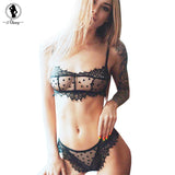 ALINRY sexy floral lace bra set women mesh transparent wire free unlined lingerie bralette push up intimates underwear briefs
