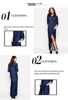 High Quality Women's Runway Trends Designer Dress big Pocket classic Dress pocket denim Long dress Sexy slit Maxi Dress