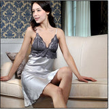 New Style Women Faux Silk Braces Dress Girls Lace Sleepwear Nightgown  JX0169