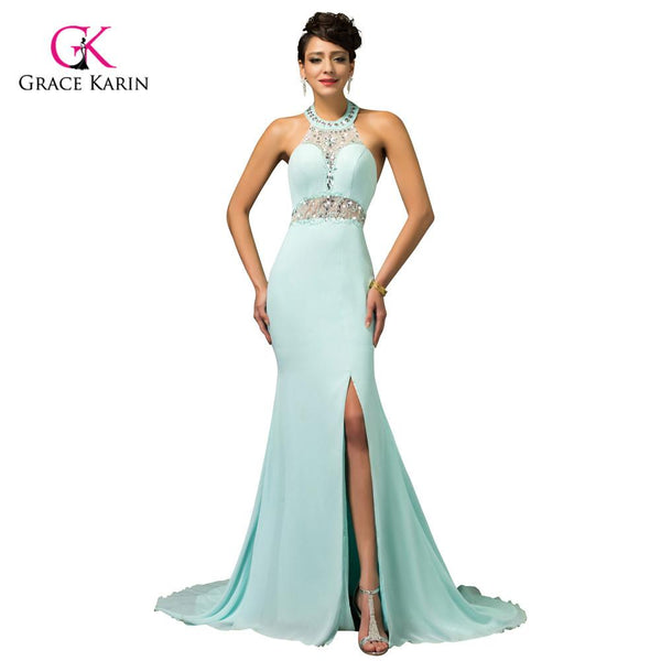 Unique designer Powder Blue Mermaid Evening Dress Gown Crystal Beaded Halter Prom Dress backless long sexy slit party dress 7598