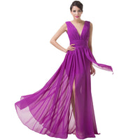 High Slit Dress Deep V Neck Purple Evening Dresses Grace Karin Long Party Dress  Chiffon Evening Gown 6186