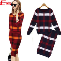 Winter 2 Pieces Sweater Dress Set Women Long Sleeve Office Wear Casual Plaid Pullover Knitted Dresses Clothing Suit