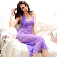 Summer Womens Nightdress With G-String Thongs Spaghetti Strap Backless Nightgown Sexy Nightgowns Long Nightwear Woman Sleepwear