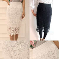 Wholesale High Quality  New Women Lace Skirt A-Line Hollow Out White Black SKirt Knee Length Plus SIze S-3XL Free Shipping