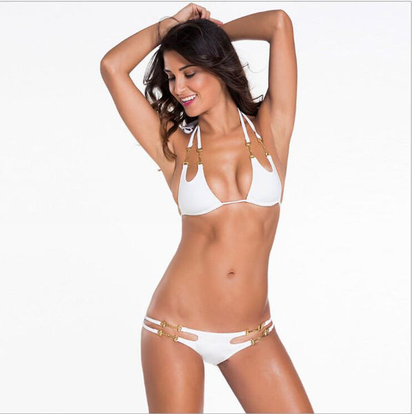 White Open-Tri 2-Pieces Hot mini micro string bikini  womens bathing suit