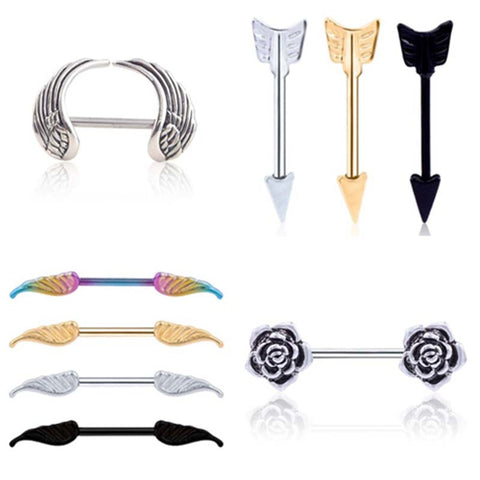 2 pcs/lot Surgical Steel Heart/Wing/ Flower Body Nipple Bar Barbell Piercing Shield Rings Rushed Ear Plugs have rod Piercing