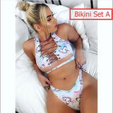 7 Style Unicorn Swimwear Women Swimsuit Padded Cartoon Women Bikini Set / One Piece Swimsuit / Mesh Bottom Women Bathing Suit