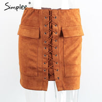 Simplee Apparel Autumn lace up suede leather women skirt 90's Vintage pocket preppy short skirt Winter high waist casual skirts