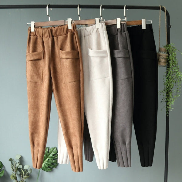 women pants leather Suede high waist Harem pants Women sweatpants streetwear casual pants Autumn chic black winter trousers