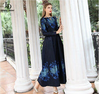 High Quality Spring Vintage Long Dress Women's Long Sleeve Elegant Maxi Dress