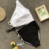 2018 new unique five ring S curve beauty shoulder one-piece swimsuit