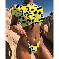Adriana Arango 2018 Unique Short Sleeves Swimwear Solid Thong Bikini Tankini Neopard High Waist Summer Beachwear