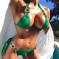 2018 New Sexy Women Swimsuits Stylish Sequins Patchwork Swimwear Bandage Bikini Set Push-up Padded Bra Bathing Suit Swimsuit