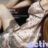 Women Sexy Lace Imtated Silk Brace Sleepwear Nightgown Dress