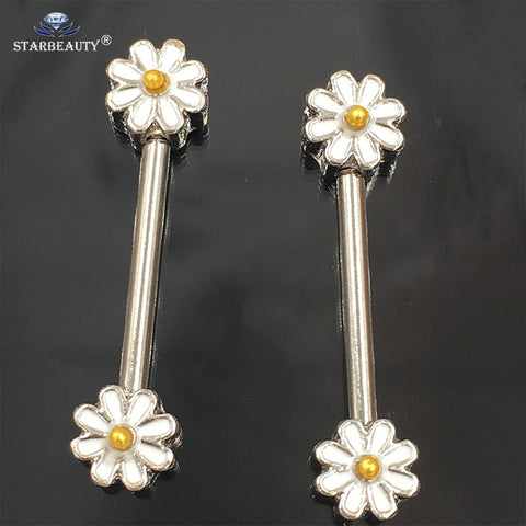 1Pair 1.6*16mm Opal Gem Punk Daisy Nipple Barbell Helix Piercing Sexy Bar Rings Jewelry Creative Punk Body Jewellery Women Gift