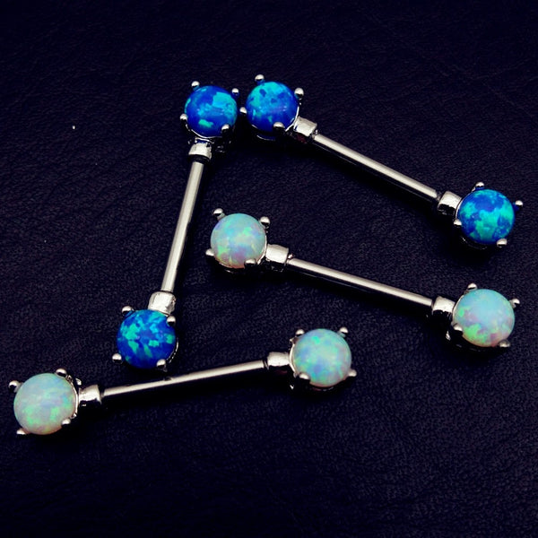 1 pair rhinestone nipple Piercing Shield Bars 316L Surgical stainless Steel opal luxury nipple rings Women/Couple Body jewelry