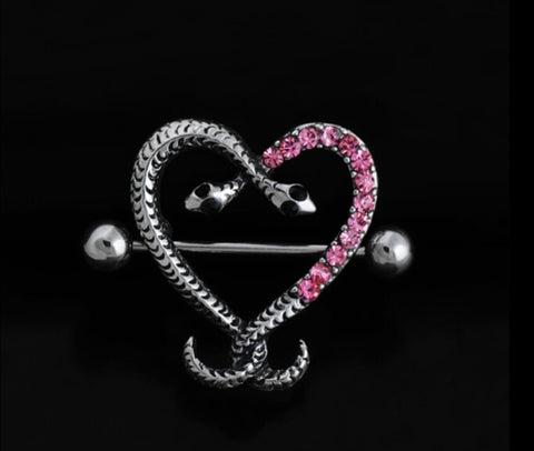 2016 New Arrival Fashion Nipple Ring Stainless Steel Body Piercing Jewelry Piercing Decoration Snake Style 1 pair