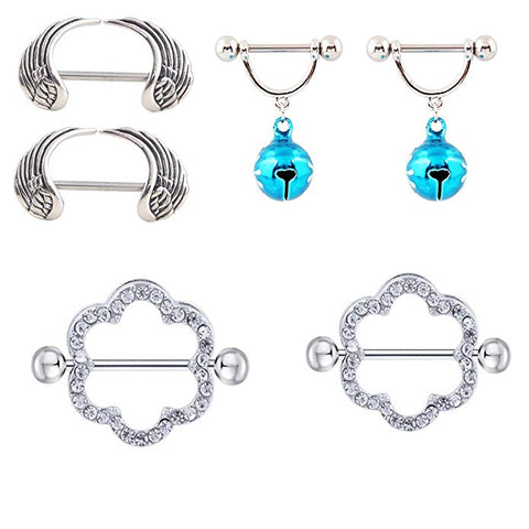 3 Pairs/6pcs Nipple Rings Shields Heart Shape Nickel Body Piercing Jewelry 14G