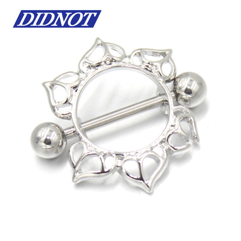 2Pcs Fashion Nipple Rings 14G Surgical Steel Floral Flowers Circle Bar Barbell Piercing Nipple Shield Ring Body Piercing Jewelry
