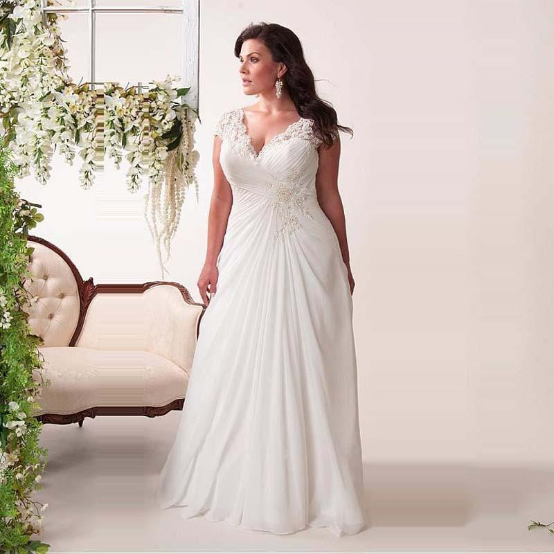 Hot Sale V Neck Plus Size Wedding Dresses Cap Sleeve Beaded Open