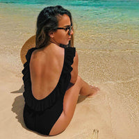2018 Sexy One Piece Swimsuit Hollow Out Swimwear Women Monokini Print Bodysuit Bandage Brazilian Vintage Bathing Suit Beach Wear