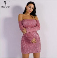 Yesexy 2018 Sexy Off Shoulder Long Sleeve Solid Elegant Party Dresses Women Christmas  Backless Sequin Mini  Dress  VR8931