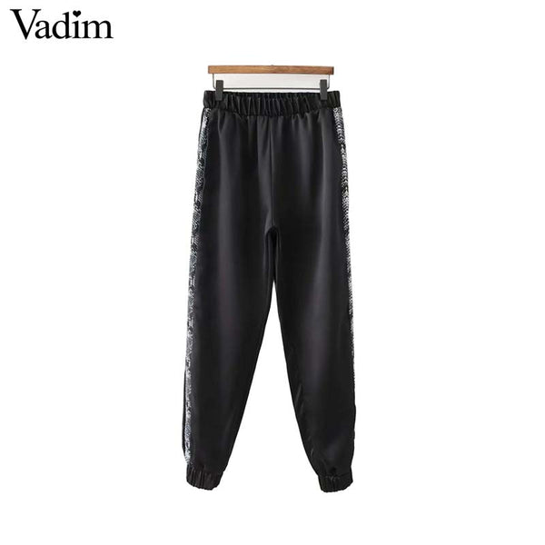 Vadim snake print side stripe harem pants animal pattern elastic waist pleated casual ankle length trousers pantalones KA391
