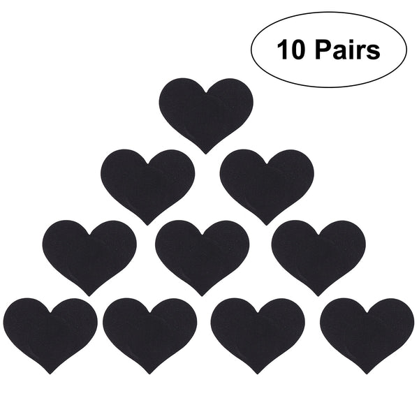 10 Pairs Women Sexy Adhesive Breast Pasties Multi Design Nipple Cover Satin Pasties (Black)