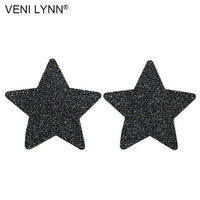 VENI LYNN 4 Pairs Flashy Disposable Star Nipple Stickers Red Breast Sex Black Petals Silver Boob Women Lingerie Pasties Tape