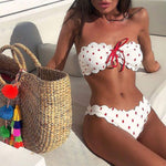 Sexy Strapless Bikini 2019 Push Up Swimsuit Swimwear Women Knot Front Biquini Off Shoulder Bikinis Set Bathing Suit Beachwear