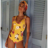 2018 Print Swimwear Women Sexy One Piece Floral Side Swimsuit Push Up Swimming Halter Bodysuit Plus Size Maillot De Bain Femme