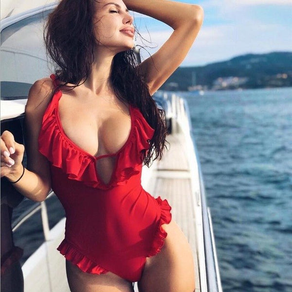 2019 Sexy Female Retro V Neck Red Solid One Piece Swimsuit Ruffled Floral Push Up Padded High cut plus size Swimwear Monokini