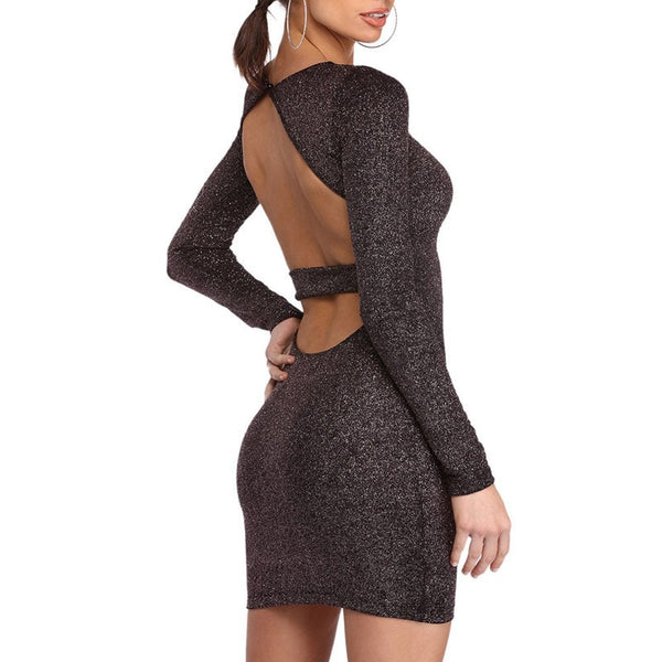 Women Shiny Sequins Bodycon Dress Open Back Long Sleeve Slim Party Dress Femal Sexy Black Backless Dress