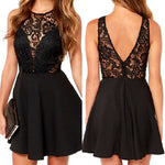 Summer Women Sheer Lace Slim Bodycon Dress Backless Beach Party Club Mini Dress LY3
