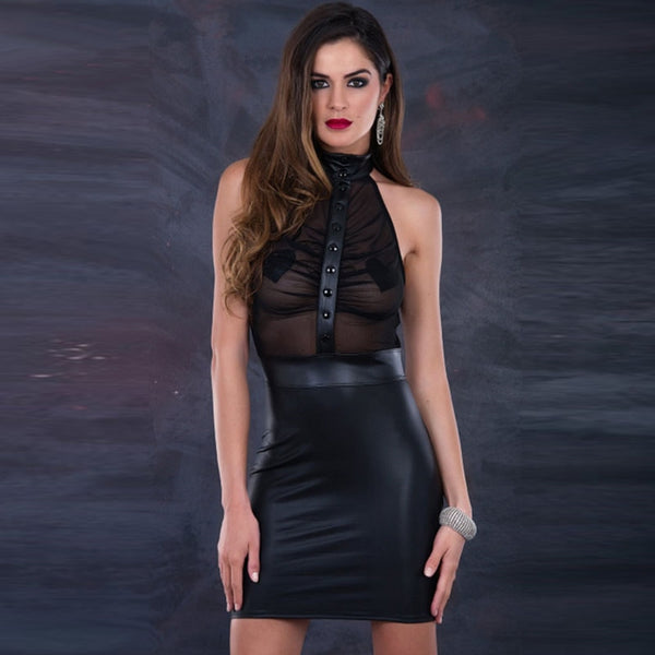 Women Dresses 2018 Black Halter Off the Shoulder Vinyl Leather & Mesh Clubwear Sexy Transparent Club Bodycon Party Dresses XXL